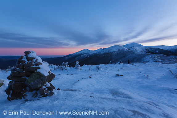 The Presidential Range at sunrise from the summit of Mount Pierce in the White Mountains, New Hampshire.