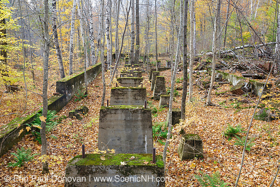 Foundation of the sawmill in the abandoned town of Livermore during the autumn months. This was a logging town in the late 19th and early 20th centuries along the Sawyer River Railroad in the New Hampshire White Mountains. Both the town and railroad were owned by the Saunders family.