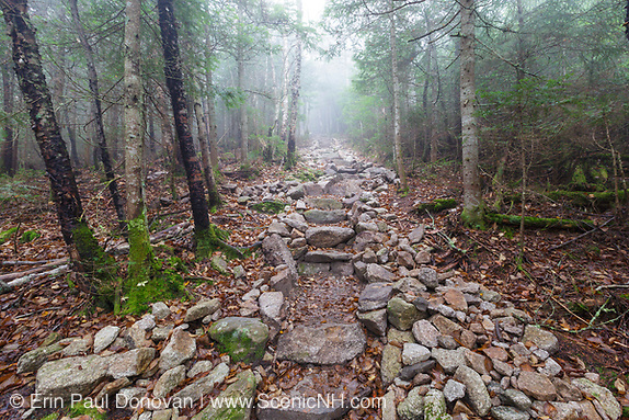 October 2012 - New stonework along the Mount Tecumseh Trail in the White Mountains of New Hampshire. This section of stone steps is about 150 (+/-) foot in length.