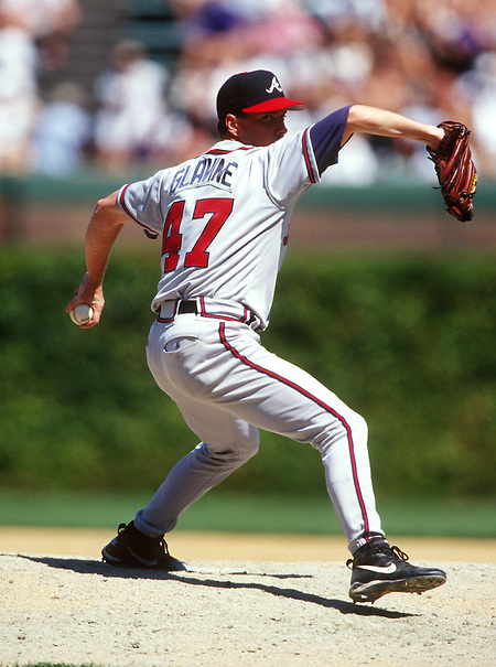 CHICAGO - UNDATED:  Tom Glavine #47 of the Atlanta Braves pitches against the Chicago Cubs during an MLB game at Wrigley Field in Chicago, Illinois.  Glavine played for the Braves from 1987-2002 and again in 2008.  (Photo by Ron Vesely) (Ron Vesely)