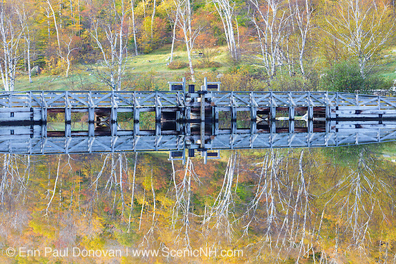 Crawford Notch State Park - Reflection of dam along the Saco River at the Willey House Historical Site in the White Mountains, New Hampshire.