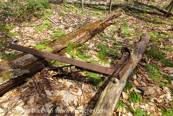 Artifact (sled runner) at an abandoned logging camp along a tributary of the Wild Ammonoosuc River, on the side of Mt. Blue, in Benton, New Hampshire.