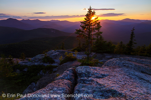 Sunset from Middle Sister Mountain in Albany, New Hampshire USA during the summer months (Erin Paul Donovan | ScenicNH.com Photography)