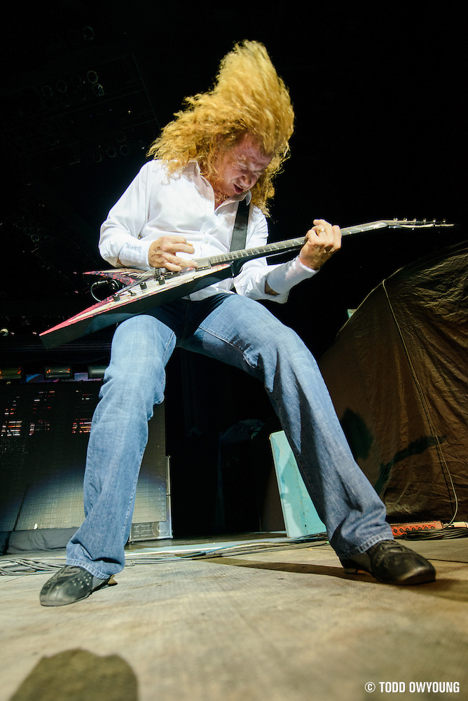 Heavy metal band Megadeth performing in support of Iron Maiden on the Maiden England world tour at Verizon Wireless in St. Louis, Missouri on September 8, 2013. (Todd Owyoung)
