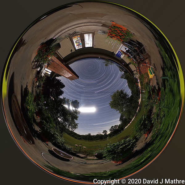 Summertime Night Sky over New Jersey (360 Tunnel View). Composite of 360 images taken with a Ricoh Theta Z1 camera (ISO 400, dual 2.6 mm fisheye lens, f/3.5, 60 sec). (DAVID J MATHRE)