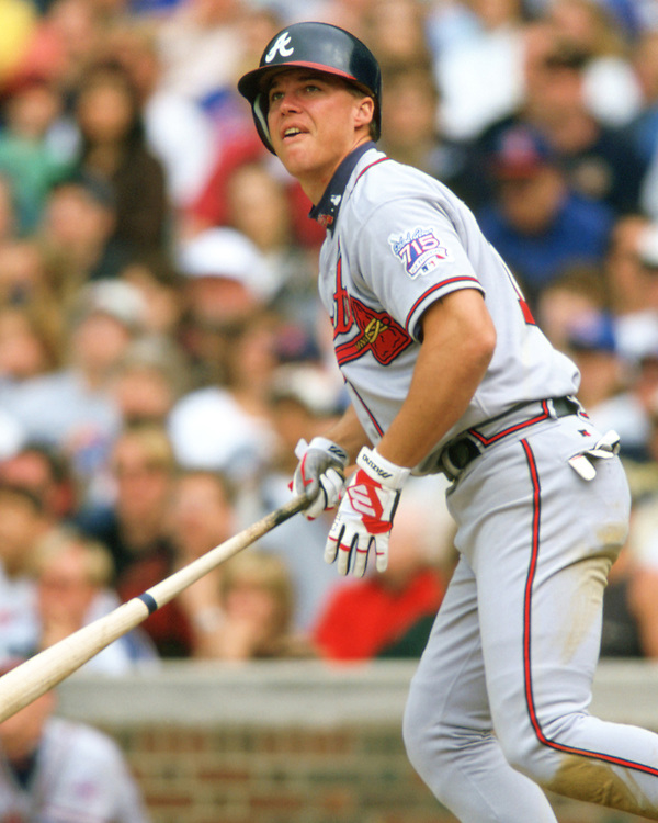 CHICAGO - 1999: Chipper Jones of the Atlanta Braves bats during an MLB game against the Chicago Cubs at Wrigley Field in Chicago, Illinois during the 1999 season. (Photo by Ron Vesely). Subject: Chipper Jones (Ron Vesely)