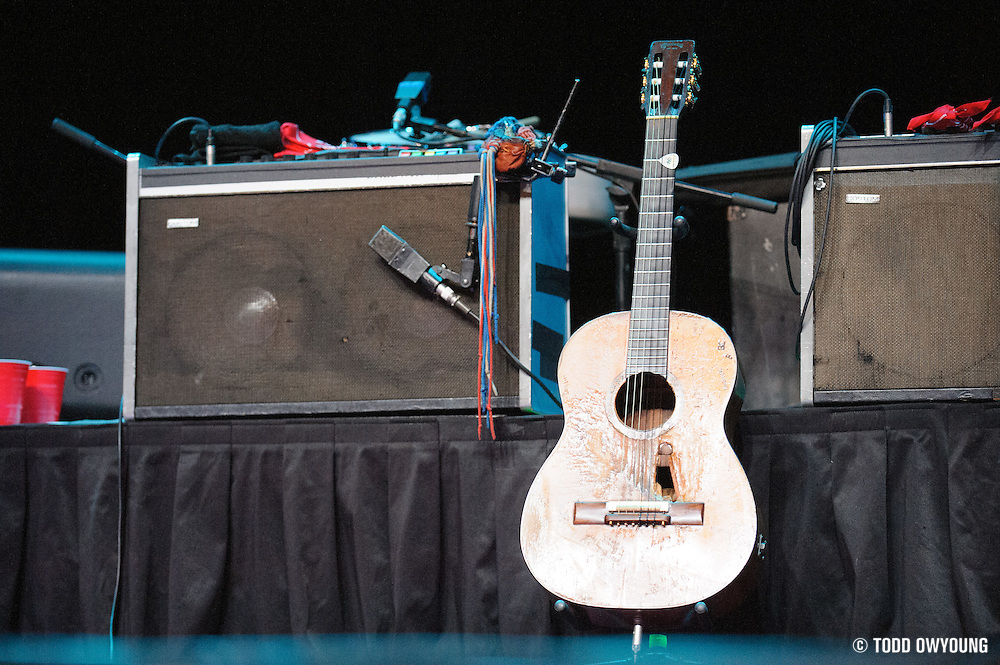 Willie Nelson's famous guitar Trigger on stage before the Willie Nelson and band take the stage at the Pageant. (TODD OWYOUNG)