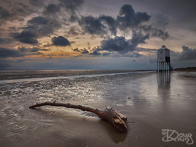 The Low Light at Burnham on Sea is a unique wooden lighthouse on piles sunk deep into the shifting sands of Burnham Beach. Originally part of a two light alignment, the Low Light, a listed building, now displays a sectored light to guide boats safely through the sandbars. (Doug King)