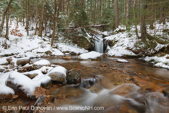 Birch Island Brook in Lincoln, New Hampshire USA during the winter months.