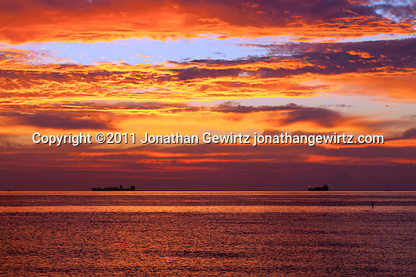 Cargo ships waiting to dock in the pre-dawn twilight off Miami Beach. (Copyright 2011 Jonathan Gewirtz jonathan@gewirtz.net)