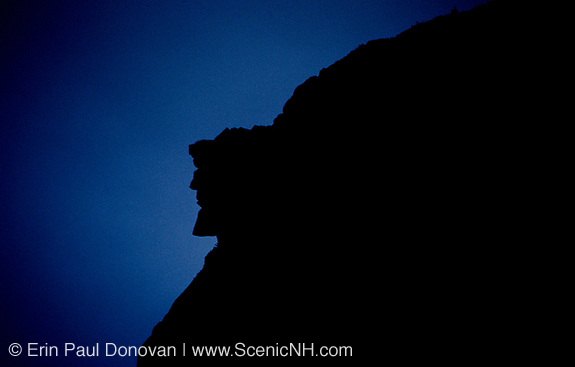 Silhouette of the Old Man of the Mountain profile. Discovered in 1805 the Old Man profile was the main attraction of Franconia Notch until it collapsed on May 3, 2003. This profile was on the side of Cannon Mountain in Franconia Notch, New Hampshire.