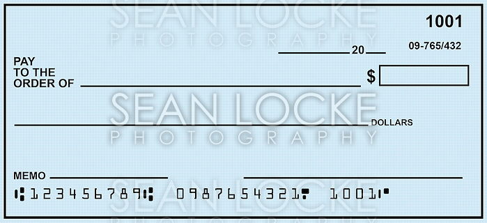 Blank check, designed from scratch. Numbers are fake. (Sean Locke)