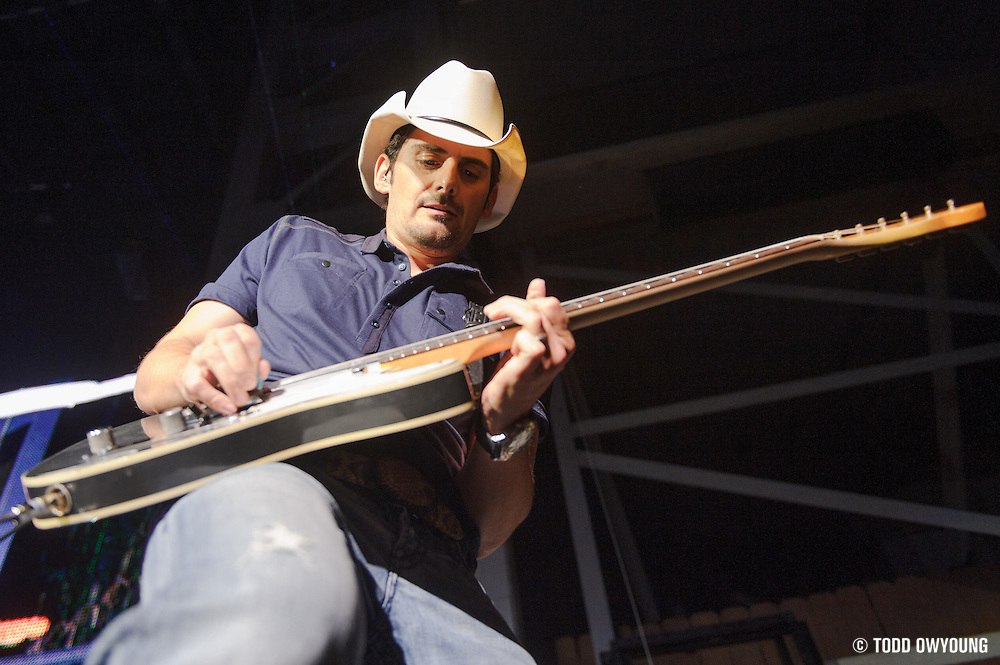Brad Paisley performing on opening night of his 2012 summer tour at the Verizon Wireless Amphitheater in St. Louis on May 18, 2012. (Todd Owyoung)