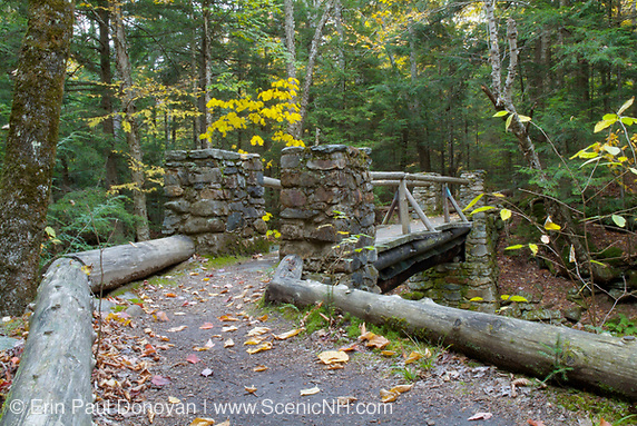 "Built 1923-1924, Memorial Bridge crosses Cold Brook along ""The Link"" trail in Randolph, New Hampshire."