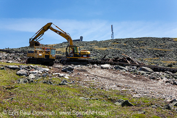 Cleanup efforts along the Mount Washington Cog Railway, near the summit of Mount Washington, in the White Mountains, New Hampshire. This scene was photographed in 2009.