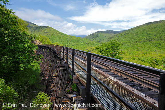 Frankenstein Trestle along the Maine Central Railroad in Crawford Notch State Park of New Hampshire.