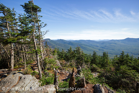 September 2013 #1 - The summit of Mount Tecumseh in Waterville Valley, New Hampshire. Ongoing vandalism (illegal tree cutting) has improved the view from the summit. Pemi District of Forest Service verified the cutting is illegal and unauthorized.