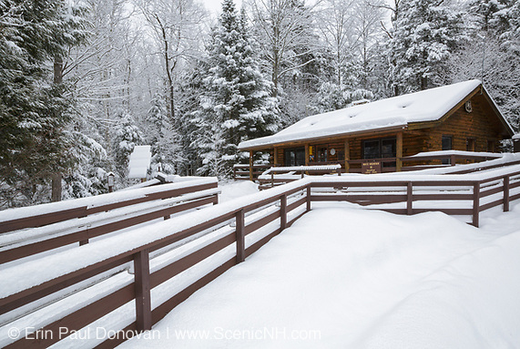 Ranger Headquarters at Lincoln Woods Trailhead in Lincoln, New Hampshire USA during the winter months.