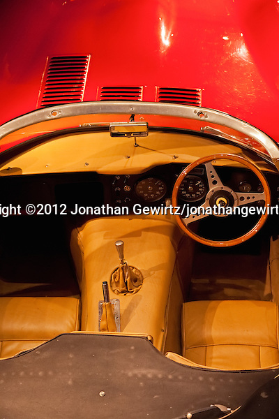 A view from above into the driver's cockpit of a right-hand drive Jaguar E-Type convertible sports car. (© 2012 Jonathan Gewirtz / jonathan@gewirtz.net)