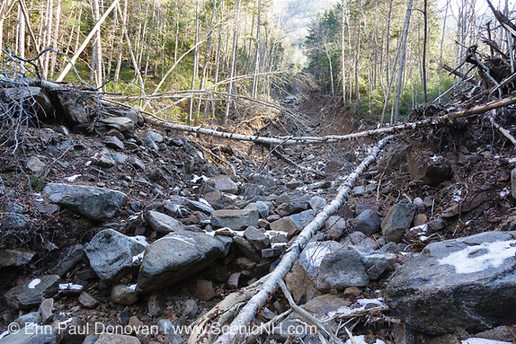 Looking up landslide on the side of the Hancock Mountain Range in the Pemigewasset Wilderness of Lincoln, New Hampshire USA. Heavy rains from Tropical Storm Irene in 2011 caused an old landslide that was in the process of being natural regenerated to slide again. The natural process of regeneration must start all over. The new landslide looks to follow the track of the old one. This storm caused extensive damage along the East coast of the United States and the White Mountains, New Hampshire.