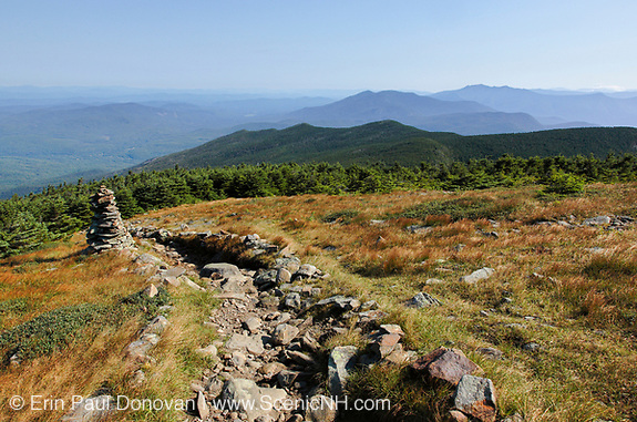 Rock cairns along the Appalachian Trail (Beaver Brook Trail) near the summit of Mount Moosilauke in the New Hampshire White Mountains.