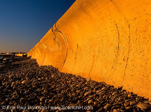 The North Wall at Hampton Beach, New Hampshire USA at sunrise.