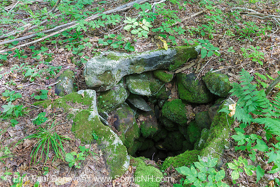 A stoned lined dug well at an abandoned homestead along an old road off Tunnel Brook Road in Easton, New Hampshire. Based on an 1860 historical map of Grafton County this was the O. Brook homestead. Today, this well is still about 15 feet deep.