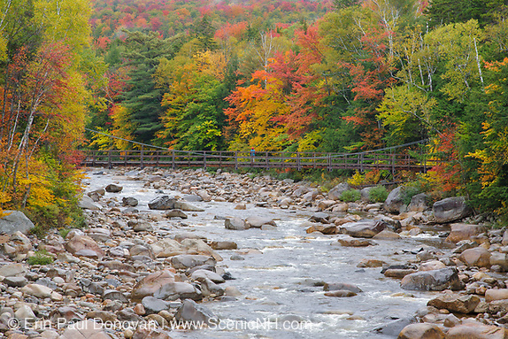 East Branch of the Pemigewasset River near the Lincoln Woods Visitor Center during the autumn months in Lincoln, New Hampshire.