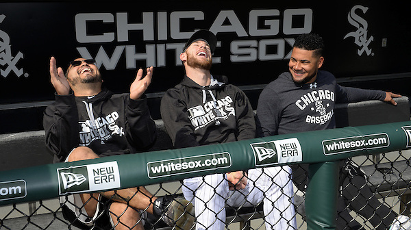 CHICAGO - April 22: Dioner Navarro #27 (L), Brett Lawrie #15 and Melky Cabrera #53 (R) of the Chicago White Sox have fun while conducting a joint interview prior to the game against the Texas Rangers on April 22, 2016 at U.S. Cellular Field in Chicago, Illinois. (Photo by Ron Vesely) Subject: Dioner Navarro; Brett Lawrie; Melky Cabrera (Ron Vesely)