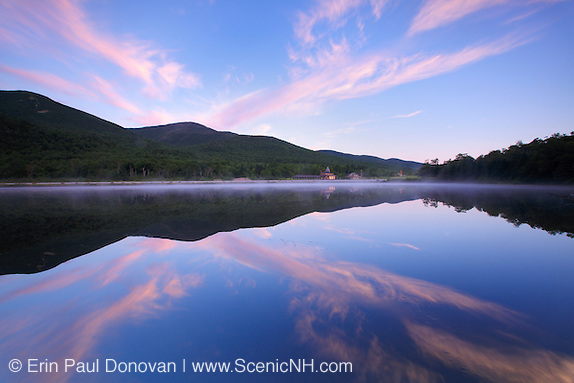 Reflection of mountains in Saco Lake in the White Mountains of New Hampshire.