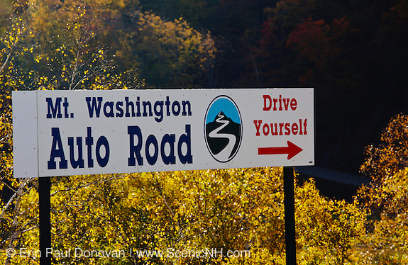 Mount Washington Auto Road in the Gorham, New Hampshire USA during the autumn months. Pinkham Notch is located along Route 16 in Gorham, New Hampshire USA, which is part of the White Mountains.
