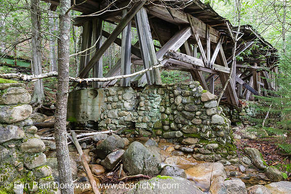 One of the stone abutments that support the abandoned Trestle No. 16 in the Pemigewasset Wilderness of New Hampshire.