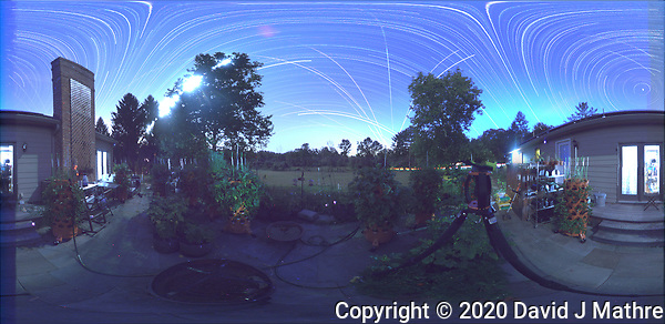 Summertime Night Sky over New Jersey (360 Equirectangular Panorama). Composite of images (20:12-03:20) taken with a Ricoh Theta Z1 camera (ISO 400, dual 2.6 mm fisheye lens, f/2.1, 60 sec). With image alignment in Photoshop CC (scrips,statistics, maximum, align images) (DAVID J MATHRE)