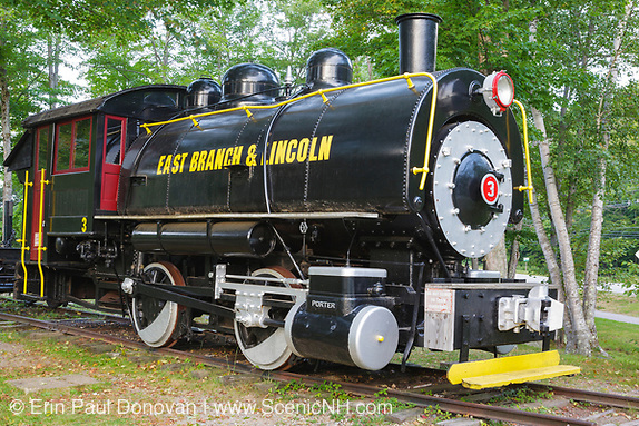 Porter 50 ton saddle tank engine locomotive on display at Loon Mountain along the Kancamagus Scenic Byway in Lincoln, New Hampshire USA.