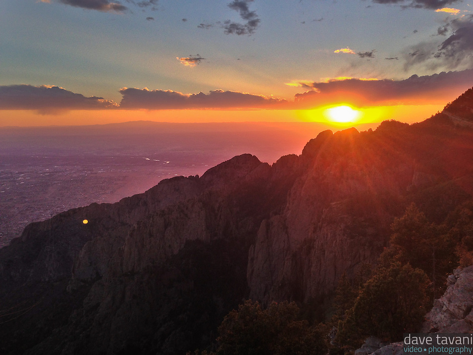 The sun sets over the Albuquerque and the Rio Grande Valley, as seen from Sandia Peak. (Dave Tavani)