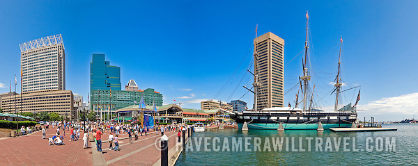 Waterfront buildings at Inner Harbor in Baltimore, Maryland, on a clear day. High resolution panorama. (David Coleman)