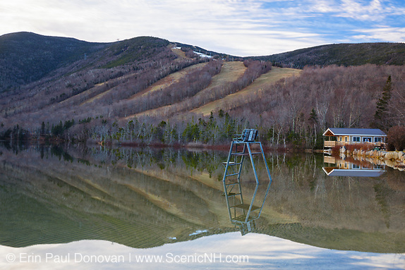 Cannon Mountain from Echo Lake in Franconia Notch State Park of New Hampshire during the month of December.
