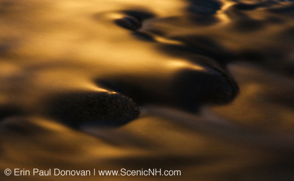 Water abstract of the moon reflecting off the East Branch of the Pemigewasset River along the Kancamagus Scenic Byway (Route 112) in Lincoln, New Hampshire.