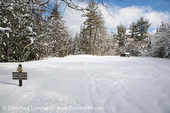 Sawyer Pond Trailhead along the Kancamagus Scenic Byway in the White Mountains, New Hampshire USA during the winter months.