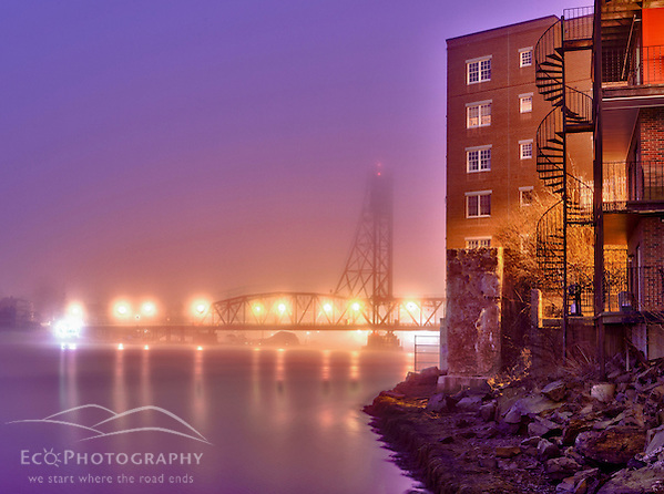 The Memorial Bridge in the fog, Portsmouth, New Hampshire. HDR. (Jerry and Marcy Monkman)
