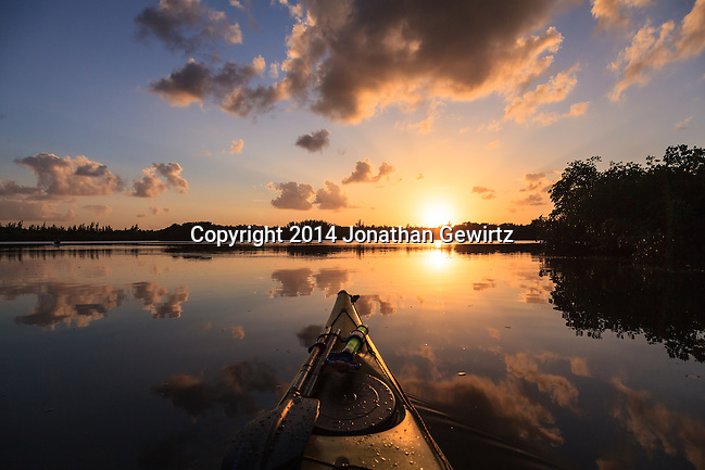 A beautiful sunset as seen from a kayak floating in Hidden Lake near the western shore of Biscayne Bay in Miami, Florida. (Jonathan Gewirtz   jonathan@gewirtz.net)