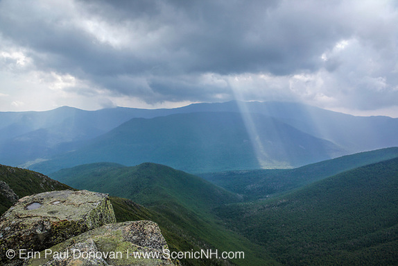 Storm (Rain) clouds engulf Owls Head Mountain from the summit of Bondlcliff Mountain in the Pemigewasset Wilderness of New Hampshire.