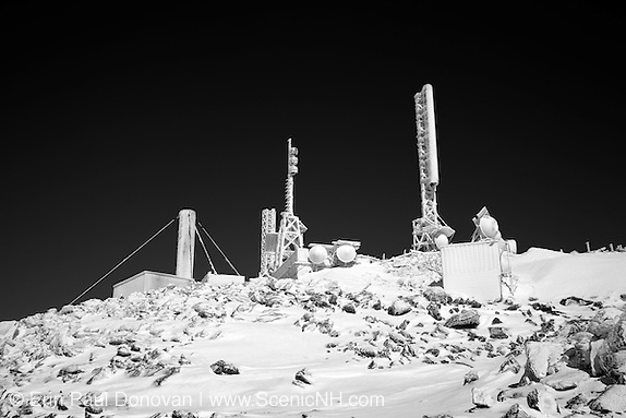 Black and white photo of the summit of Mount Washington during the winter months in the White Mountains, New Hampshire.
