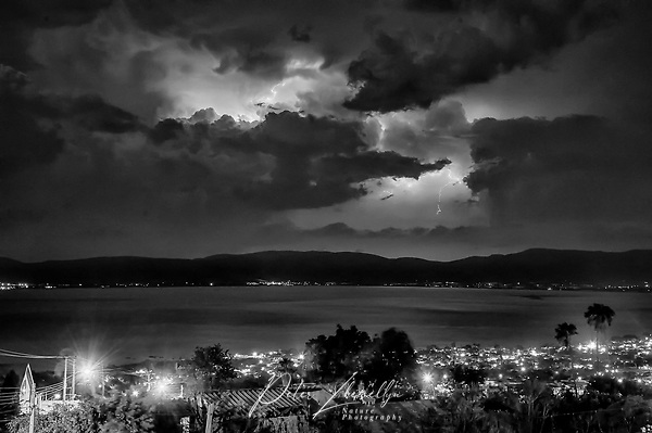 Lightning storm at night over Lake Chapala San Juan Cosala, Jalisco, Mexico (Peter Llewellyn)