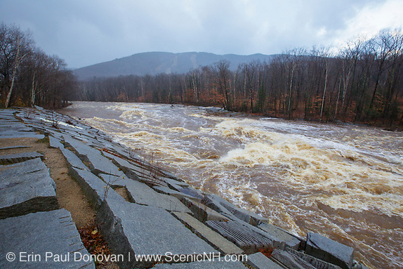 The East Branch of the Pemigewasset River in Lincoln, New Hampshire USA after hours of heavy rains and strong winds from Hurricane Sandy. This hurricane caused massive destruction along the east coast, but the White Mountains of New Hampshire received almost no damage