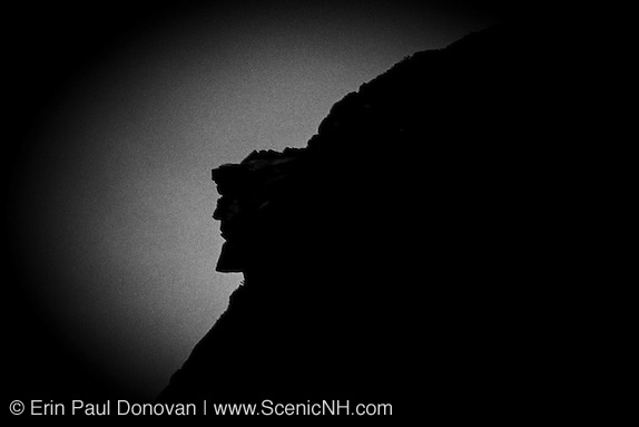 This is a 35 MM slide that has been digitized - Silhouette of the Old Man of the Mountain profile. Discovered in 1805 the Old Man profile was the main attraction of Franconia Notch until it collapsed on May 3, 2003. This profile was on the side of Cannon Mountain in Franconia Notch, New Hampshire.