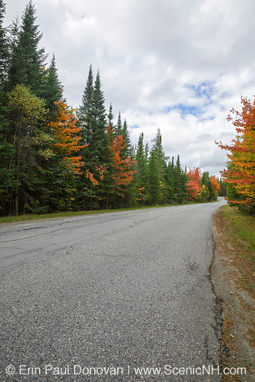 Signs of autumn foliage along Trudeau Road in Bethlehem, New Hampshire USA on the last day of summer in September.