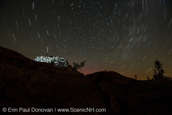Star Trails over Middle Sister Fire tower on Middle Sister Mountain in Albany, New Hampshire.