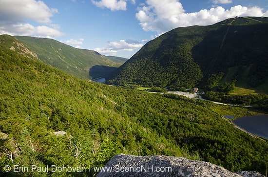 Franconia Notch State Park from Eagle Cliff during the summer months in the White Mountains, New Hampshire.