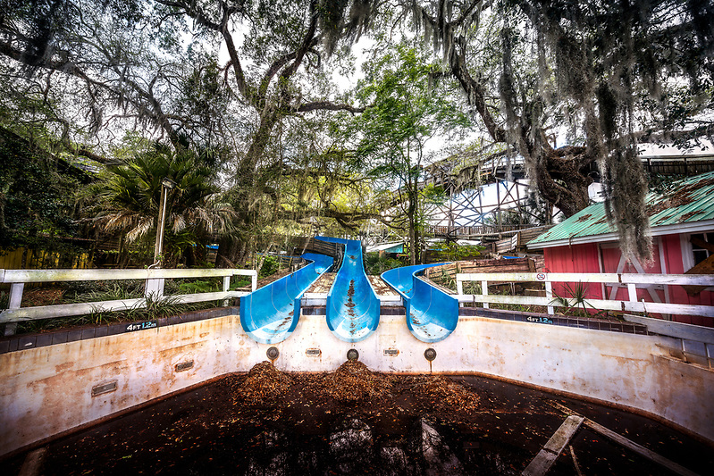 The abandoned Wild Waters water park at Silver Springs State Park, in Ocala, FL (Walter Arnold Photography 2018)